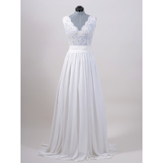 Sexy Column V-Neck Sweep Train Chiffon Wedding Dresses with Applique