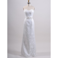 2018 Style Sheath Sweetheart Sweep Train Lace Satin Wedding Dresses