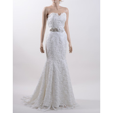 Discount Mermaid Sweetheart Sweep Train Lace Wedding Dress with Belt