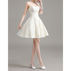 Casual A-Line Sweetheart Sleeveless Short Lace Wedding Dresses