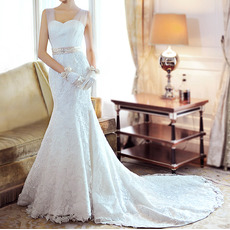 Affordable Trumpet Lace Chapel Train Wedding Dresses with Tulle Straps