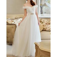 Custom Off-the-shoulder Floor Length Chiffon Organza Wedding Dresses