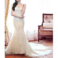 Discount Mermaid Sleeveless Chapel Train Satin Tulle Wedding Dresses