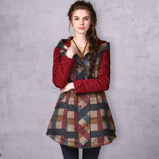 Women's Casual Winter Slim Plaid Hooded Long Down Coats Parkas