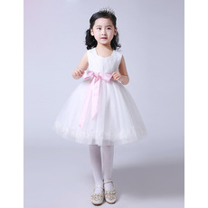 Discount Ball Gown Knee Length Flower Girl Dresses with Pink Sashes