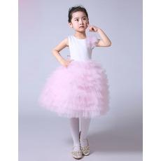 Inexpensive Knee Length Satin Tulle Layered Skirt Flower Girl Dresses