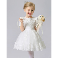 2016 New Style Short First Communion Dresses with Short Sleeves