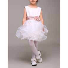 Affordable Sleeveless Short Ruffle Skirt Flower Girl Dresses with Belts