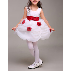 Adorable Pick-Up Skirt Flower Girl Dresses with Belts and Flowers