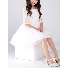 Discount A-Line Short Organza Lace Flower Girl Dresses with Sleeves