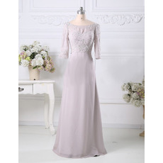 Custom A-Line Floor Length Chiffon Mother Dresses with 3/4 Sleeves