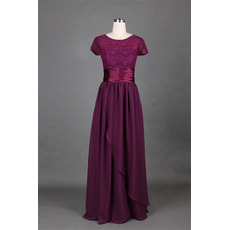 Vintage Floor Length Lace Chiffon Mother Dresses with Short Sleeves