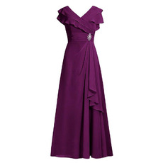 Modest V-Neck Floor Length Chiffon Mother of the Bride/ Groom Dresses