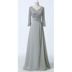 Modest Floor Length Chiffon Mother Dresses with Long Lace Sleeves