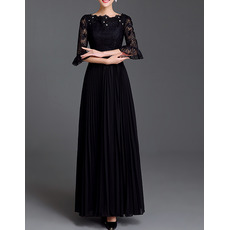 Elegant Chiffon Lace Pleated Mother Dresses with Trumpet Sleeves