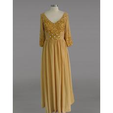 Custom V-Neck Chiffon Beaded Mother Dresses with 3/4 Long Sleeves