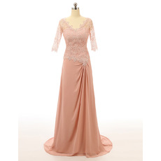 2017 Style V-Neck Lace Chiffon Mother Dresses with 3/4 Long Sleeves