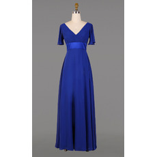 2016 V-Neck Floor Length Chiffon Mother Dresses with Short Sleeves