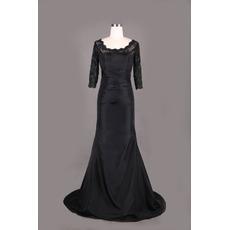 Custom Long Taffeta Black Mother Dresses with 3/4 Long Lace Sleeves