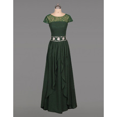 Modest Floor Length Chiffon Mother Dresses with Short Sleeves