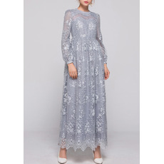 Elegant Empire Ankle Length Lace Mother Dresses with Long Sleeves