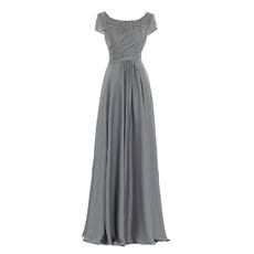 Custom Floor Length Chiffon Mother Dresses with Short Sleeves