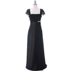 Custom Empire Square Neck Chiffon Mother Dresses with Cap Sleeves