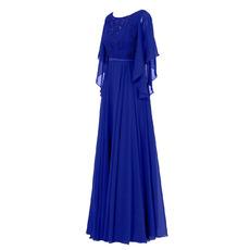 Custom Elegant Floor Length Chiffon Mother Dresses with Cap Sleeves