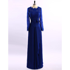 Vintage Floor Length Chiffon Mother Dresses with Long Lace Sleeves