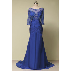 Affordable Trumpet Floor Length Mother Dresses with 3/4 Long Sleeves