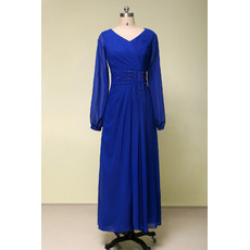 Vintage V-Neck Tea Length Chiffon Mother Dresses with Long Sleeves