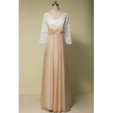 Custom V-Neck Long Chiffon Mother Dresses with 3/4 Long Lace Sleeves
