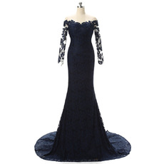 Custom Sheath Off-the-shoulder Lace Mother Dresses with Lace Sleeves