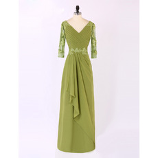 Vintage V-Neck Long Chiffon Mother Dresses with 3/4 Long Sleeves