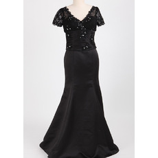 Custom Trumpet V-Neck Long Black Mother Dresses with Short Sleeves