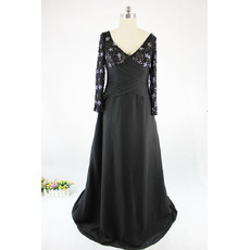 Affordable V-Neck Long Satin Black Mother Dresses with Long Sleeves