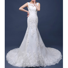 2018 New Style Sheath Court Train Satin Tulle Applique Wedding Dresses