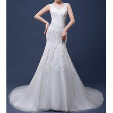 Custom Sexy Sheath Court Train Satin Tulle Applique Wedding Dresses