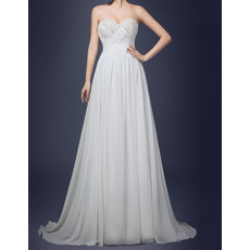 Affordable Empire Sweetheart Sweep Train Chiffon Wedding Dresses