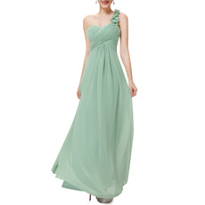 2016 One Shoulder Sweetheart Floor Length Chiffon Bridesmaid Dresses