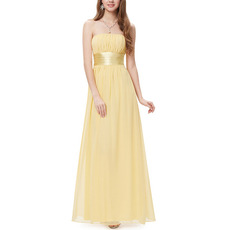 Custom Strapless Floor Length Chiffon Bridesmaid Dresses with Sashes