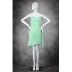 Elegant Sweetheart Mini/ Short Chiffon Asymmetric Bridesmaid Dresses