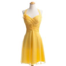 2018 Style Halter Sweetheart Knee Length Chiffon Bridesmaid Dresses