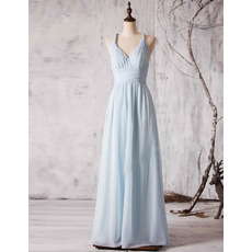 2018 New Spaghetti Straps V-Neck Floor Length Chiffon Bridesmaid Dress