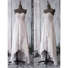 Custom Sweetheart High-Low Asymmetric Chiffon Bridesmaid Dresses