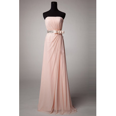 Elegant Strapless Floor Length Chiffon Bridesmaid Dresses with Bows
