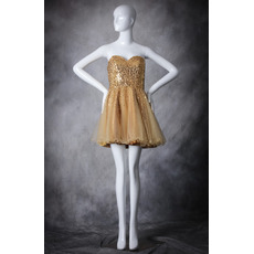 Inexpensive A-Line Sweetheart Short Organza Sequin Homecoming Dresses