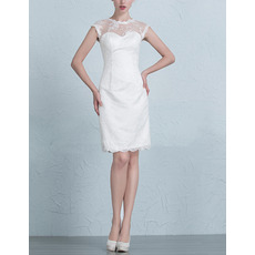 Custom Column Sleeveless Lace Mini/ Short Petite Wedding Dresses