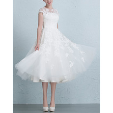 Affordable A-Line Tea Length Short Garden/ Outdoor Wedding Dresses