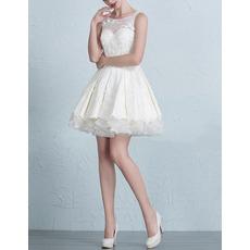 Sexy & Casual A-Line Sleeveless Short/ Mini Satin Tulle Wedding Dresses
